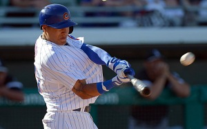 The baseball jumps off his bat and over the wall, Baez is a stud